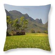 Rice Farm Throw Pillow