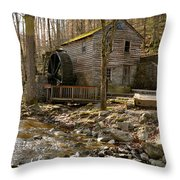 Rice Grist Mill And Threshing Barn  Throw Pillow