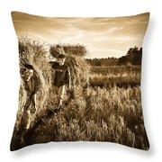 Rice Harvesting Throw Pillow