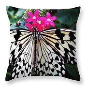 Rice Paper Butterfly On Pink Throw Pillow