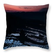 Rice Terrace After Sunset Throw Pillow