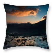 Rice Terrace And Cloud Throw Pillow