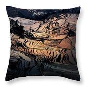 Rice Terrace Field Of Yuan Yang Throw Pillow