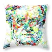 Richard Wagner Watercolor Portrait Throw Pillow