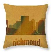 Richmond Virginia City Skyline Watercolor On Parchment Throw Pillow