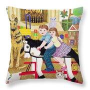 Ride-a-cock-horse Throw Pillow