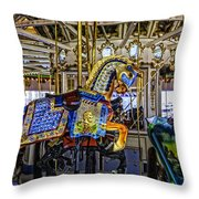 Ride A Painted Pony - Coney Island 2013 - Brooklyn - New York Throw Pillow