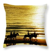 Rider Silhouettes Against The Sea Throw Pillow