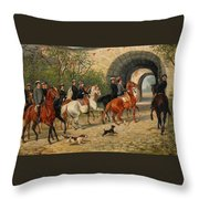 Riders At Uppsala Castle Throw Pillow