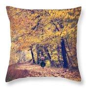 Riding A Bike In Autumn Throw Pillow