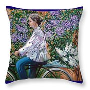 Riding Bycicle For Lilac Throw Pillow
