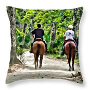 Riding In The Woods Throw Pillow