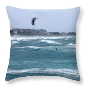 Riding Wind And Surf Throw Pillow
