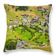 Riederalp Switzerland With Golf Course Throw Pillow