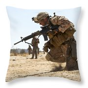 Rifleman Kneels To The Ground While Throw Pillow