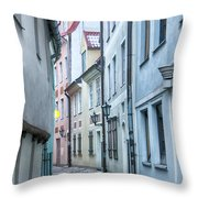 Riga Narrow Street Throw Pillow
