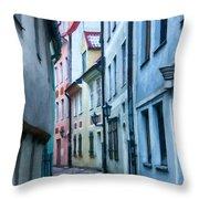 Riga Narrow Street Painting Throw Pillow