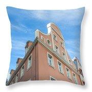 Riga Pink Building Throw Pillow