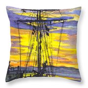 Rigging In The Sunset Throw Pillow