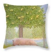 Right Hand Orchard Pig Throw Pillow