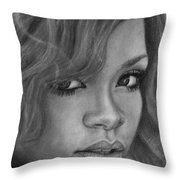 Rihanna Pencil Drawing Throw Pillow