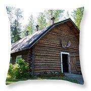 Rika's Barn In Big Delta Historical Park-ak  Throw Pillow