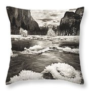 Rime Ice On The Merced In Black And White Throw Pillow