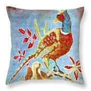Ringneck Pheasants Throw Pillow