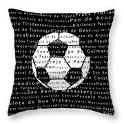 Rio De Janeiro In Words Black Soccer Throw Pillow
