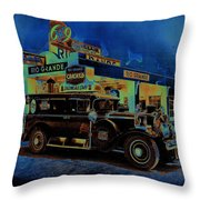 Rio Grande Homage 1950  Gas Station And Vehicle C.1935 Throw Pillow