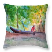 Rio Negro Canoe Throw Pillow