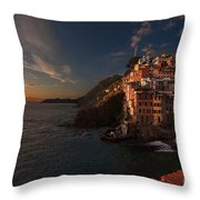 Riomaggiore Peaceful Sunset Throw Pillow by Mike Reid