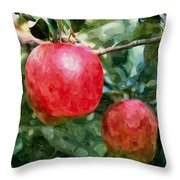 Ripe Red Apples On Tree Throw Pillow