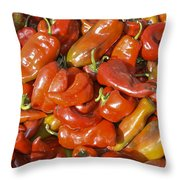 Ripe Red Peppers Throw Pillow