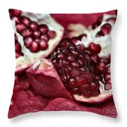 Ripe Red Pomegranate Close Up Throw Pillow