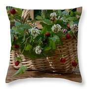 Wild Strawberries And White Clover Throw Pillow