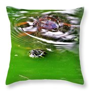 Rippled Green Throw Pillow