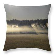 Rising Field Of Fog Throw Pillow