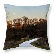 Rising Moon Fishing Throw Pillow