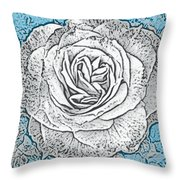 Ritzy Rose With Ink And Blue Background Throw Pillow