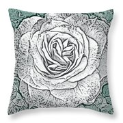 Ritzy Rose With Ink And Green Background Throw Pillow