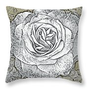 Ritzy Rose With Ink And Taupe Background Throw Pillow