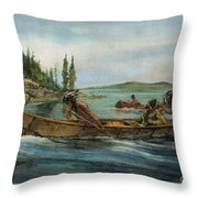 Rival Fur Traders  Throw Pillow