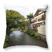 River And Houses In Kyoto Japan Throw Pillow