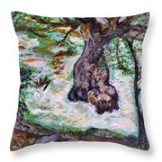 River And Plane Tree Throw Pillow
