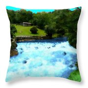 River And Waterfall In France Throw Pillow