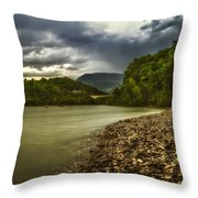 River Below The Clouds Throw Pillow