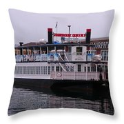 River Boat At Dock Throw Pillow