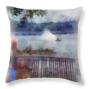 River Boat Speed Racing Vertical Photo Art Throw Pillow