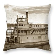 River Boat Yukon Stern Wheel Alaska 1915 Throw Pillow